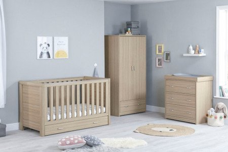 Babymore Luno Room Set 3 Piece With Drawer- Oak