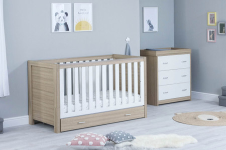 Babymore Luno Room Set 2 Piece With Drawer- White Oak