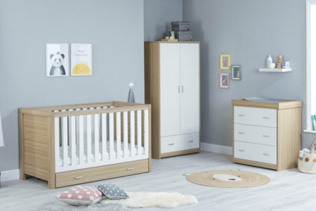 Babymore Luno Room Set 3 Piece With Drawer- White Oak