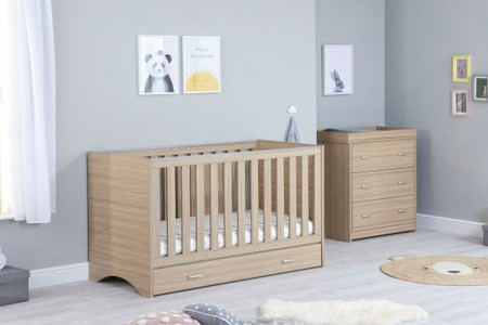 Babymore Veni Room Set 2 Piece With Drawer- Oak