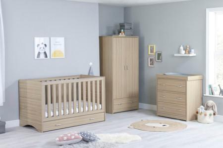 Babymore Veni Room Set 3 Piece With Drawer- Oak