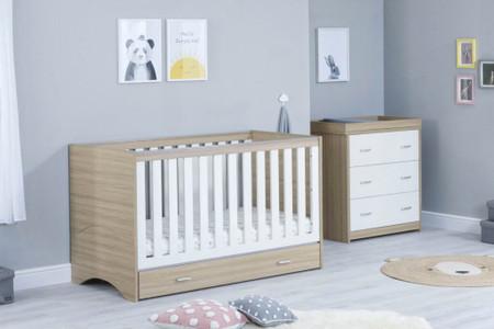 Babymore Veni Room Set 2 Piece With Drawer- White Oak