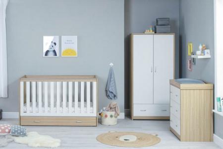 Babymore Veni Room Set 3 Piece With Drawer- White Oak