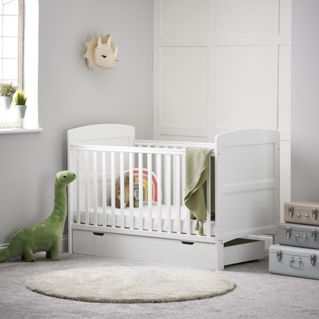 Obaby Grace Cot Bed & Under Drawer  - White