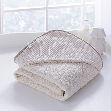Clair de Lune Waffle Hooded Towel (0% VAT) - Cream
