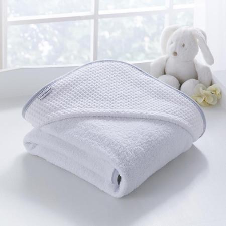 Clair de Lune Waffle Hooded Towel (0% VAT) - White