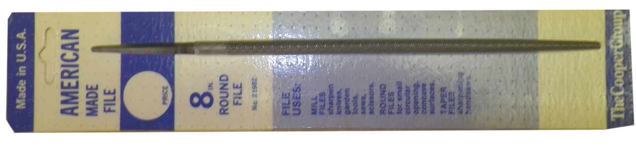 Cooper Round File, Carded, 8 Inch Long, NOS USA