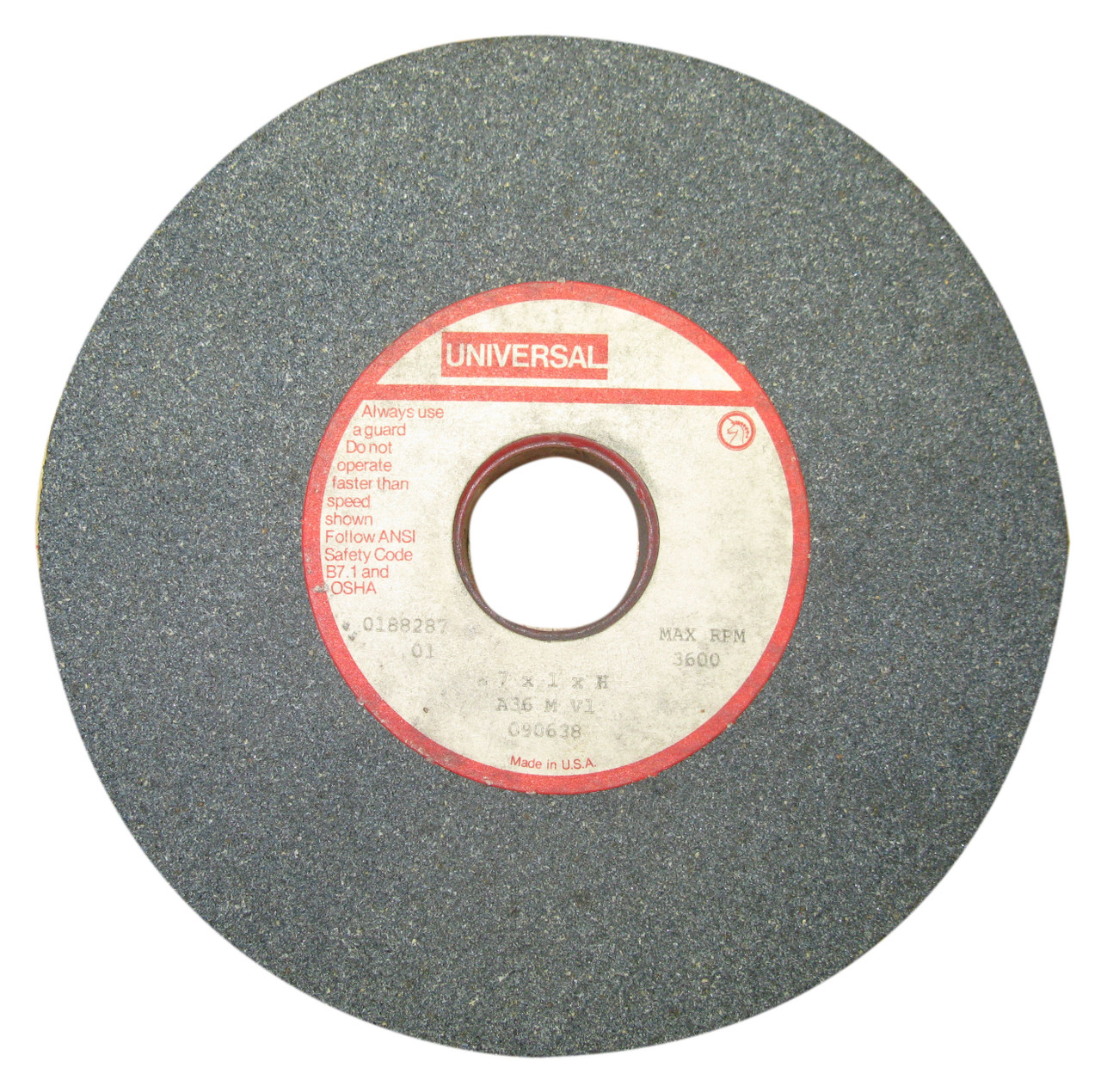 Universal #090638 General Purpose Grinding Wheel, 60 Grit, 7 x 1 x 1 1/4 Inch, NOS USA