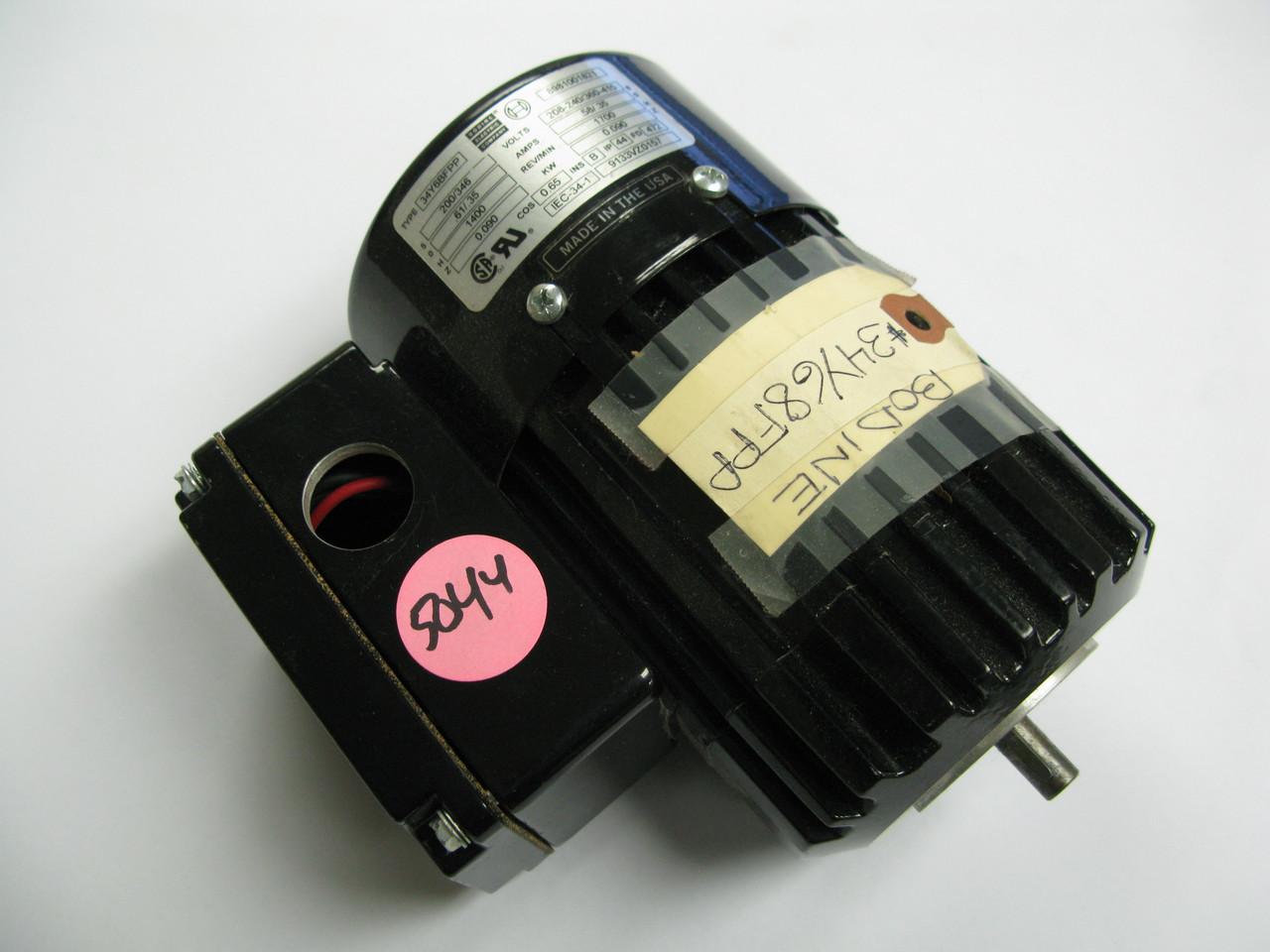 Bodine Electric 48Y6BFPP AC Gearmotor, 208-240/360-415V, 3400 RPM, .550 KW