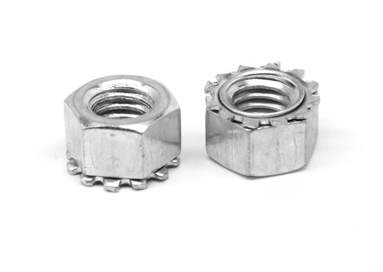#10-24 Coarse Thread KEPS Nut / Star Nut with External Tooth Lockwasher Low Carbon Steel Zinc Plated