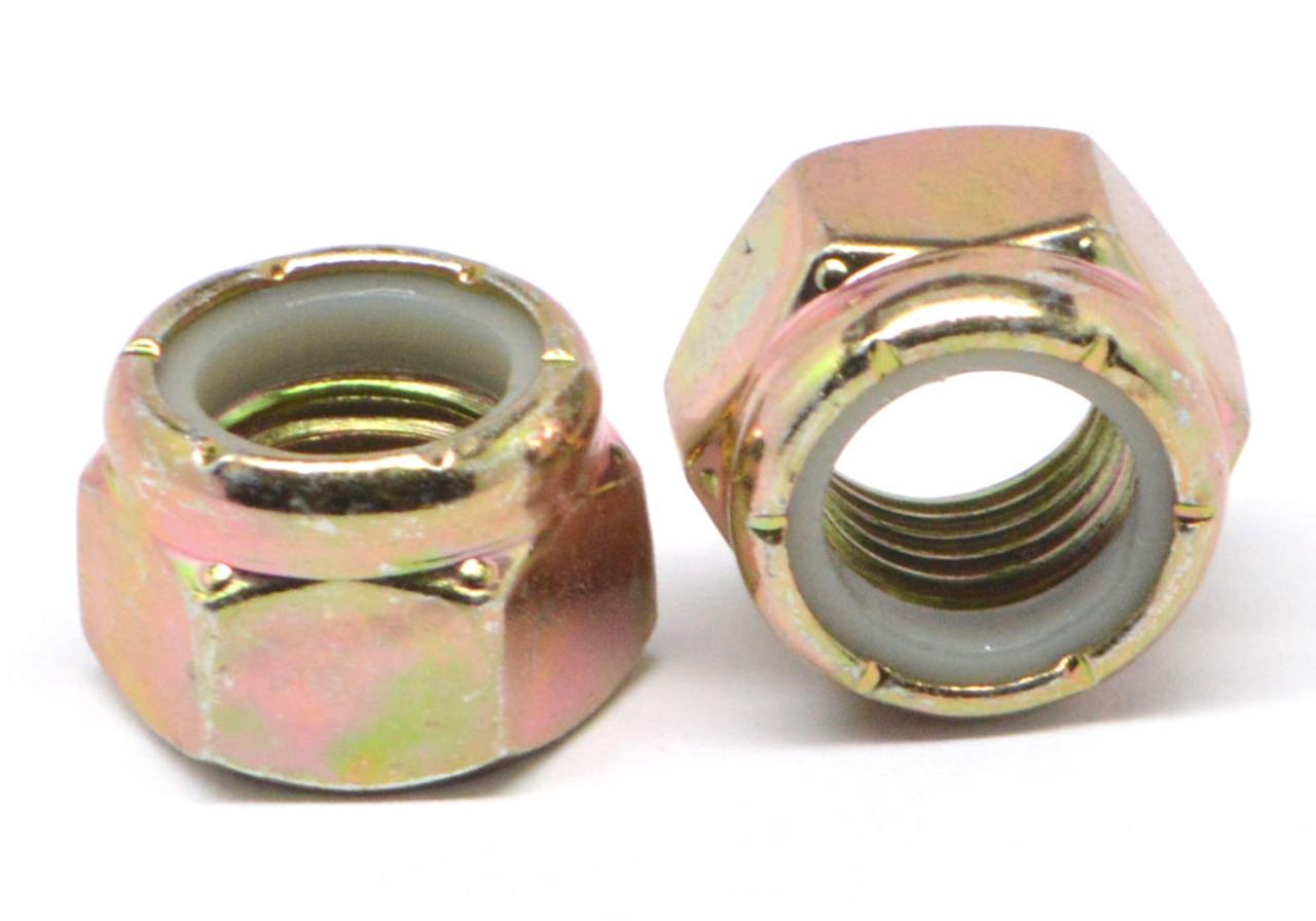 "1/2""-13 Coarse Thread Grade C Nyloc (Nylon Insert Locknut) NE Standard Medium Carbon Steel Yellow Zinc Plated"
