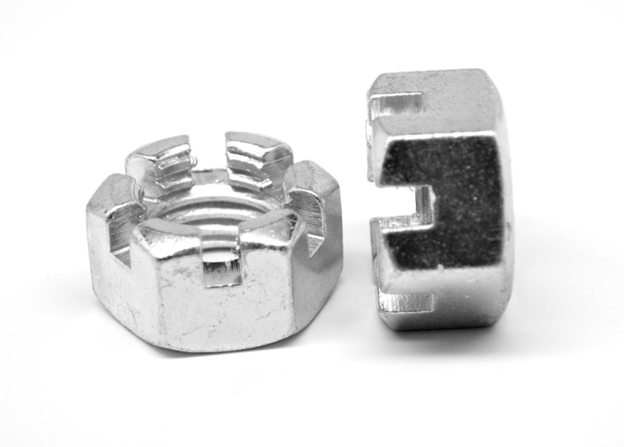 """1 1/8""""-12 Fine Thread Grade 2 Slotted Finished Hex Nut Low Carbon Steel Zinc Plated"""
