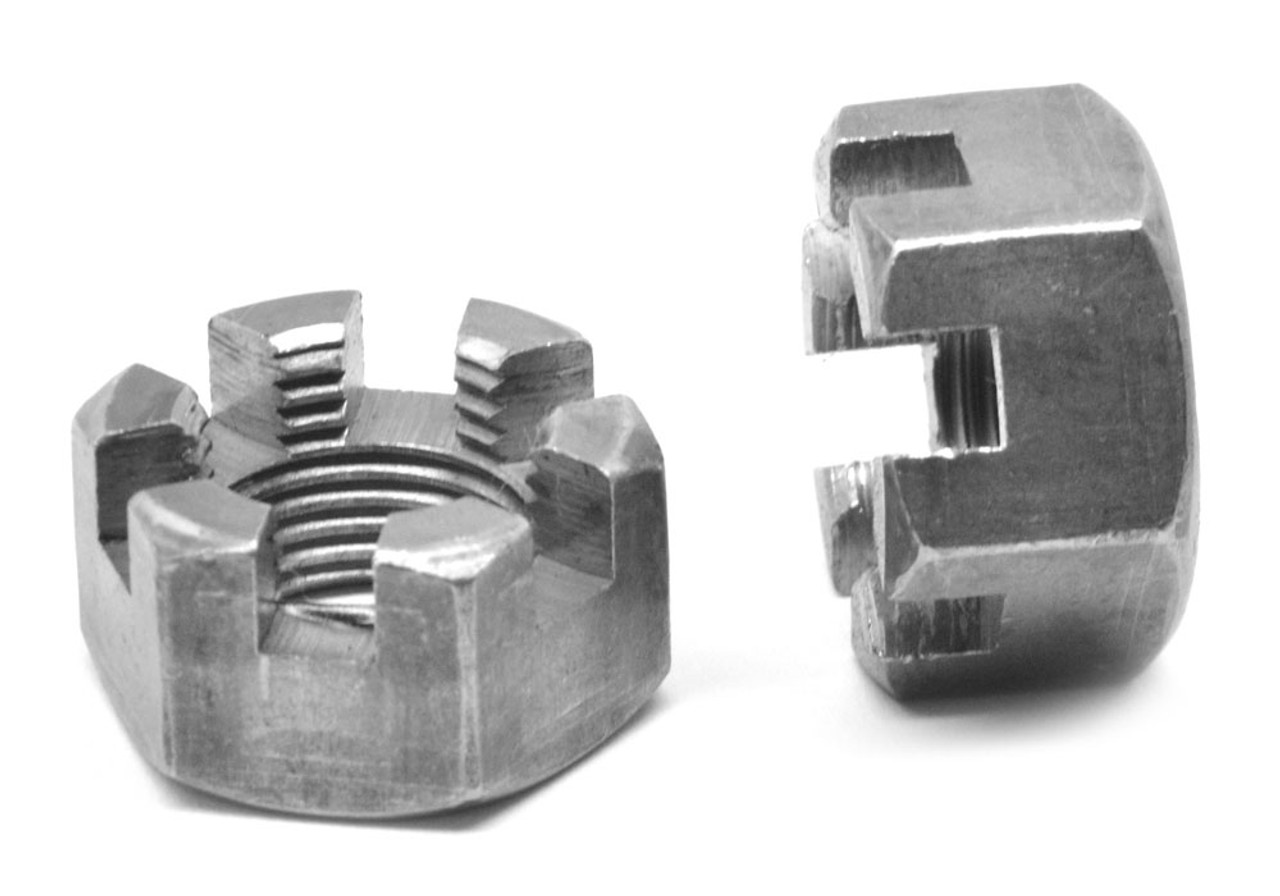 """1 1/2""""-12 Fine Thread Grade 2 Slotted Finished Hex Nut Low Carbon Steel Plain Finish"""