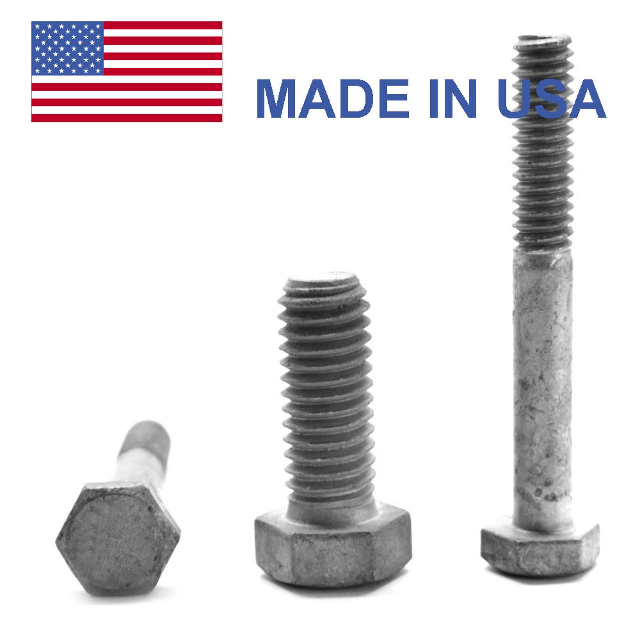 "1 1/4""-7 x 2 1/4"" Coarse Thread Grade A325 Type 1 Heavy Hex Structural Bolt - USA Medium Carbon Steel Hot Dip Galvanized"