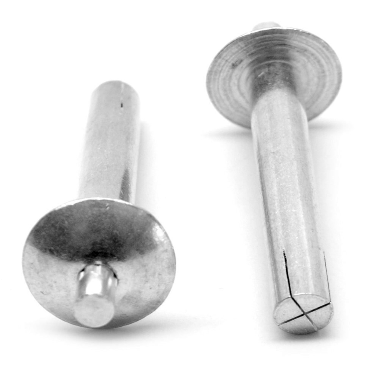 1/4 x 1/4 Drive Pin Rivet Brazier Head with Stainless Pin Aluminum