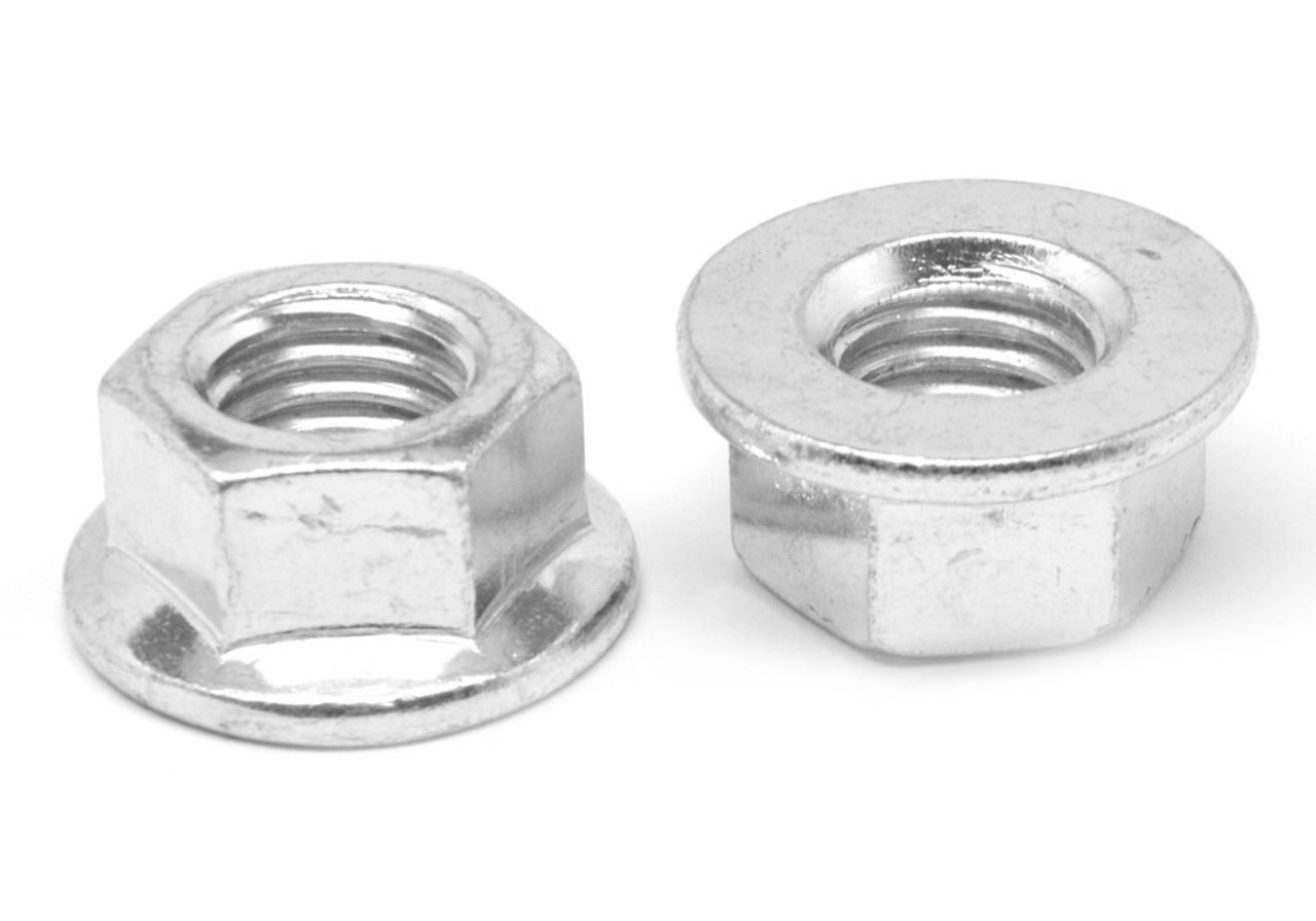 #10-24 Coarse Thread Hex Flange Nut Case Hardened Low Carbon Steel Zinc Plated