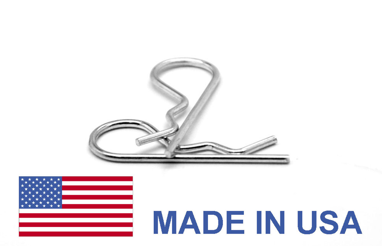 .028 x 5/8 Hitch Pin Clip / Hairpin Cotter - USA Low Carbon Steel Zinc Plated