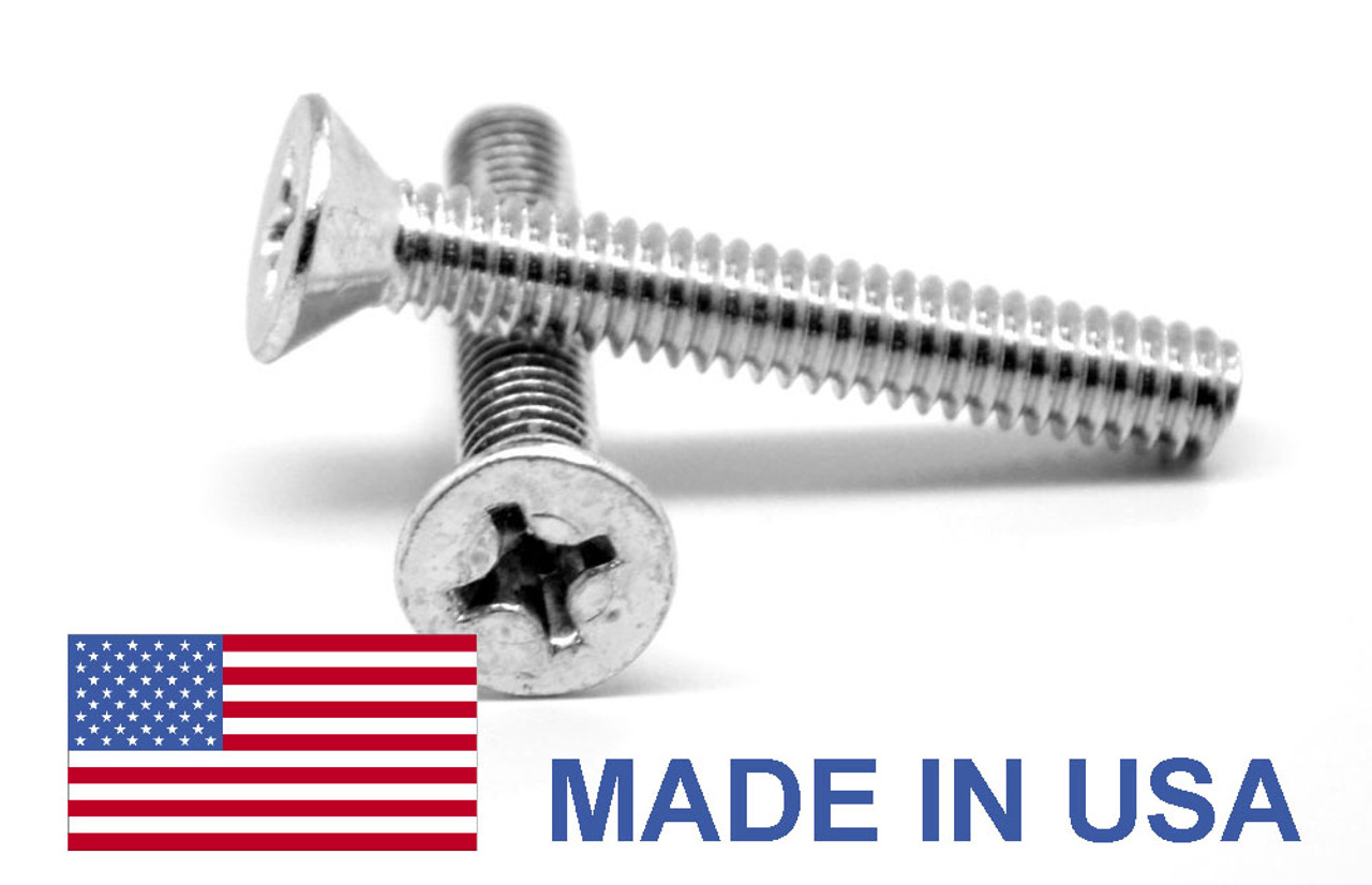 #0-80 x 1/4 Fine Thread MS35191 Machine Screw Phillips Flat Head - USA Low Carbon Steel Cadmium Plated