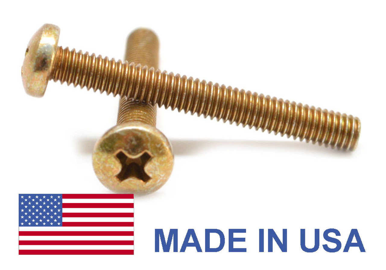 #2-56 x 1/4 Coarse Thread MS35206 Machine Screw Phillips Pan Head - USA Low Carbon Steel Yellow Cadmium Plated
