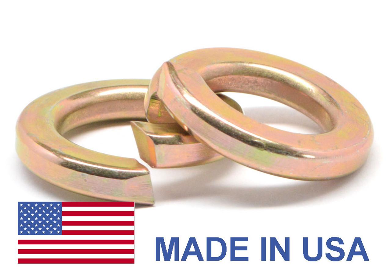 #10 MS35338 Split Lockwasher - USA Medium Carbon Steel Yellow Zinc Plated