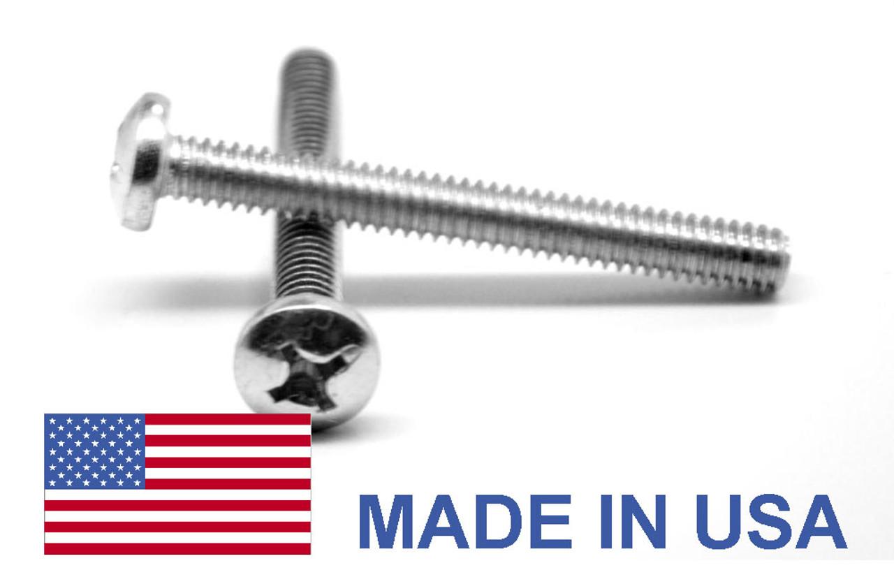 #0-80 x 1/4 Fine Thread MS51958 NAS-1635 Machine Screw Phillips Pan Head - USA Stainless Steel 18-8