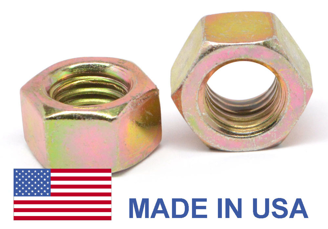 7/16-14 Coarse Thread Grade C MS51967 Finished Hex Nut - USA Medium Carbon Steel Yellow Cadmium Plated
