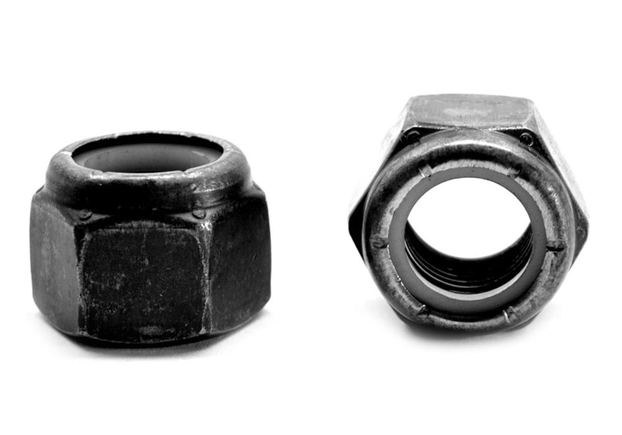 #10-24 Coarse Thread Nyloc (Nylon Insert Locknut) NM Standard Low Carbon Steel Black Zinc Plated