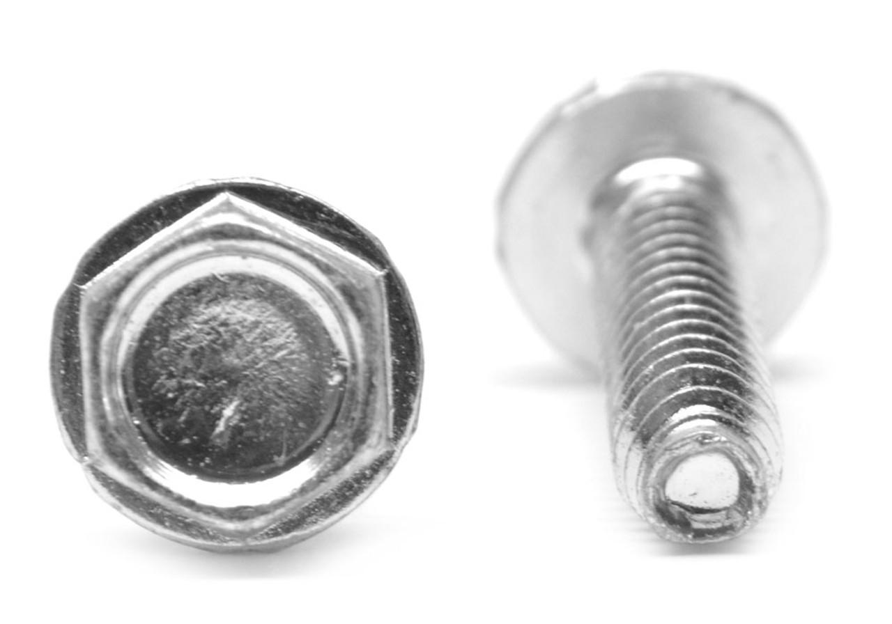 #10-32 x 1 3/4 Fine Thread Taptite®-Alternative Thread Rolling Screw Hex Washer Head Low Carbon Steel Zinc Plated/Wax