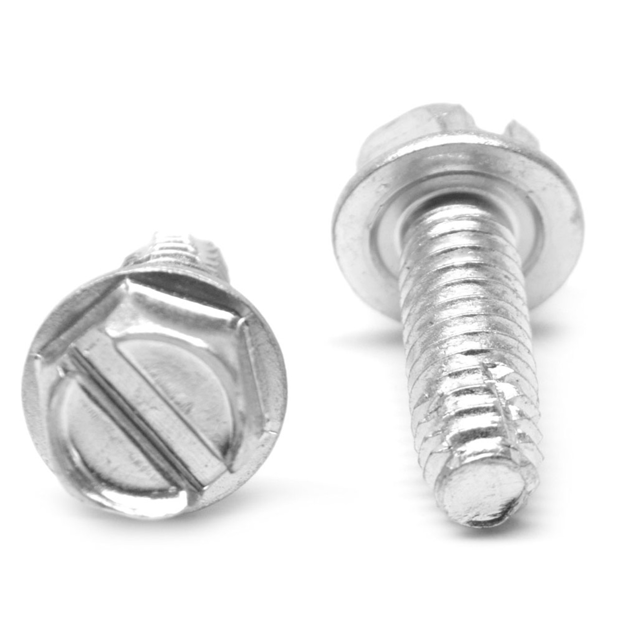 #10-32 x 1 3/4 Fine Thread Thread Cutting Screw Slotted Hex Washer Head Type F Low Carbon Steel Zinc Plated