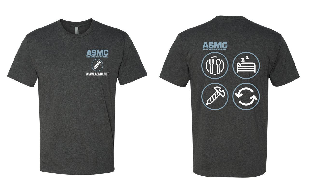 ASMC Eat Sleep Repeat Tee Charcoal Gray Size L