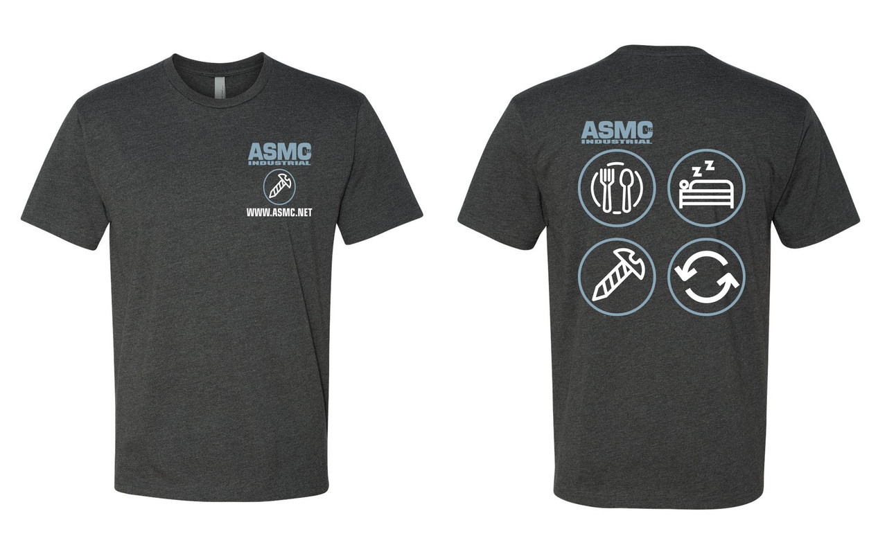 ASMC Eat Sleep Repeat Tee Charcoal Gray Size XXL