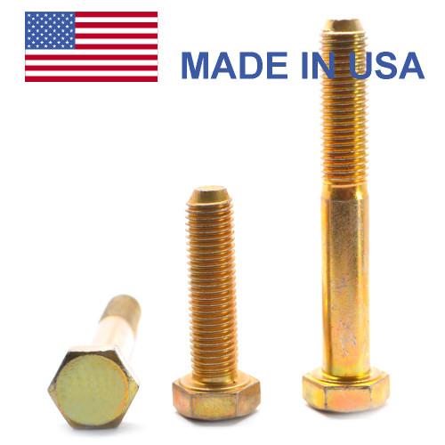 """7/8""""-14 x 8"""" (PT) Fine Thread Grade 8 Hex Cap Screw (Bolt) - USA Alloy Steel Yellow Zinc Plated"""