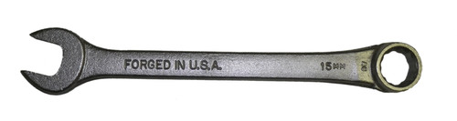 Forged USA Satin Chrome Combination Wrench, 15mm, NOS