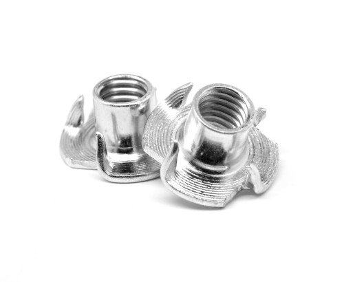 "1/4""-20 x 7/16"" Coarse Thread Tee Nut 4 Prong Low Carbon Steel Zinc Plated"