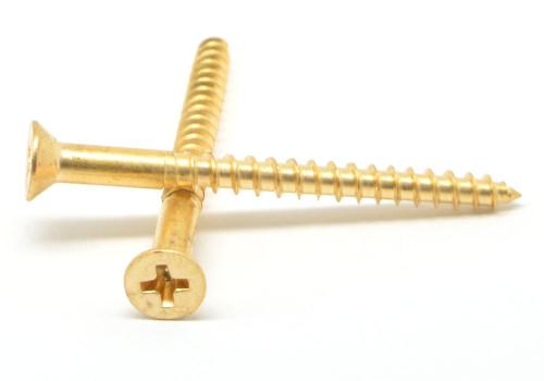 """#10 x 1 3/4"""" Wood Screw Phillips Flat Head Brass"""