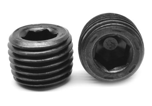 "1/4""-18 PTF Thread Socket Pipe Plug Flush Seal 7/8"" Taper Alloy Steel Black Oxide"