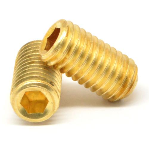 "3/8""-16 x 3/4"" Coarse Thread Socket Set Screw Cup Point Brass"