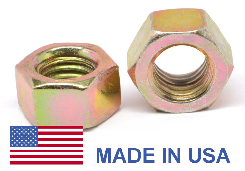 """3/8""""-16 Coarse Thread Grade 9 Finished Hex Nut L9 - USA Alloy Steel Yellow Cad Plated / Wax"""