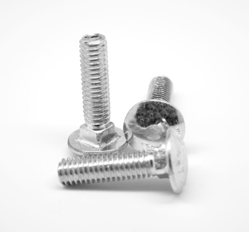 "#10-24 x 3 1/4"" (FT) Coarse Thread A307 Grade A Carriage Bolt Low Carbon Steel Zinc Plated"