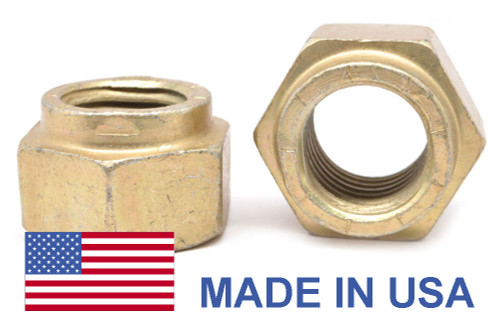 "7/16""-14 Coarse Thread Grade 9 Collar Locknut L9 - USA Alloy Steel Yellow Cad Plated / Wax"
