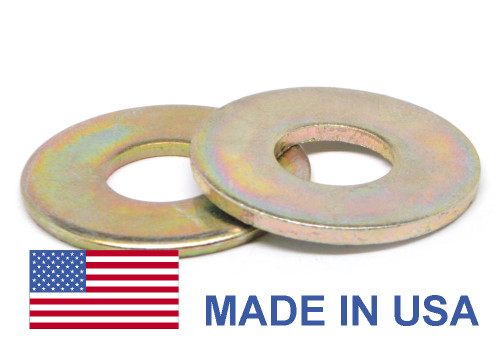 "1/2"" Grade 8 Flat Washer SAE Pattern Extra Heavy - USA Medium Carbon Steel Yellow Zinc Plated"