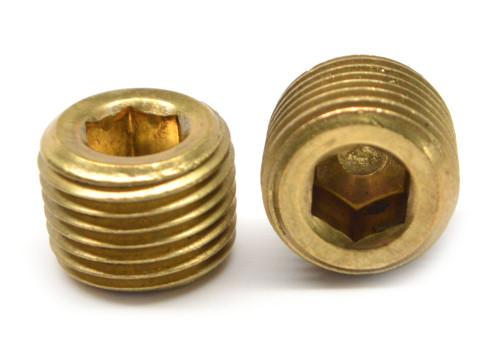 "3/8""-18 NPTF Thread Socket Pipe Plug Dry Seal 3/4"" Taper Brass"