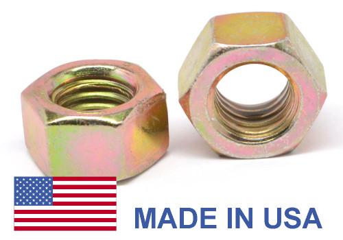 "5/8""-11 Coarse Thread Grade 8 Finished Hex Nut - USA Medium Carbon Steel Yellow Zinc Plated"