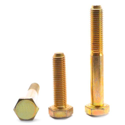 "9/16""-18 x 2"" (FT) Fine Thread Grade 8 Hex Cap Screw (Bolt) Alloy Steel Yellow Zinc Plated"