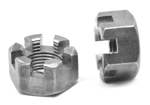 """1 1/8""""-12 Fine Thread Grade 2 Slotted Finished Hex Nut Low Carbon Steel Plain Finish"""