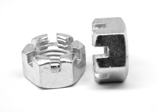 """1 1/8""""-7 Coarse Thread Grade 2 Slotted Finished Hex Nut Low Carbon Steel Zinc Plated"""