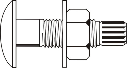 """1""""-8 x 3 3/4"""" Grade A490 / A563 DH / F436 Tension Control Bolt Assembly with Heavy Hex Nut and Structural Washer Plain Finish"""