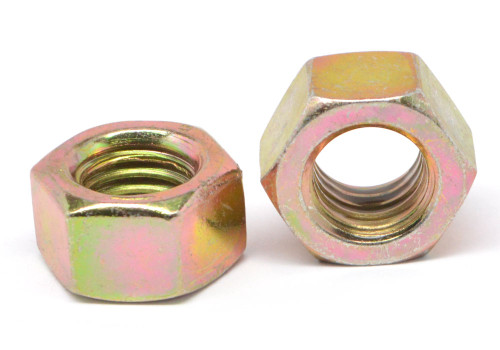 3/8-24 Fine Thread Grade 5 Finished Hex Nut / Nylon Patch Medium Carbon Steel Yellow Zinc Plated
