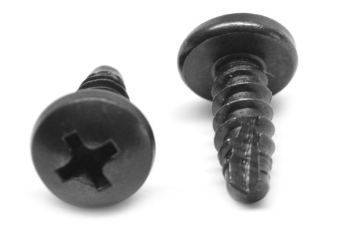 #10 x 1/2 Thread Cutting Screw Phillips Pan Head Type 25 Low Carbon Steel Black Oxide