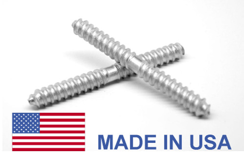 1/4 x 2 Dowel Screw - USA Low Carbon Steel Zinc Plated